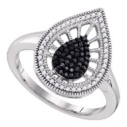 0.35 CTW Black Color Diamond Teardrop Ring 10KT White Gold - REF-30H2M