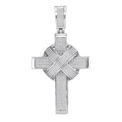 1.8 CTW Mens Diamond Bound Roman Cross Charm Pendant 10KT White Gold - REF-187F4N