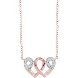 0.05 CTW Diamond Heart Infinity Love Pendant 10KT Rose Gold - REF-12X8Y