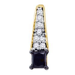 0.51 CTW Princess Black Color Diamond Fashion Pendant 10KT Yellow Gold - REF-14F9N