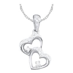 0.15 CTW Diamond Double Heart Love Pendant 10KT White Gold - REF-12N2F