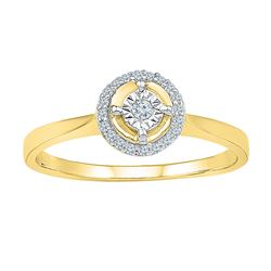 0.08 CTW Diamond Solitaire Halo Bridal Engagement Ring 10KT Yellow Gold - REF-13W4K