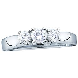 1 CTW Diamond 3-stone Bridal Engagement Ring 14KT White Gold - REF-134Y9X