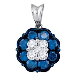 1 CTW Blue Color Diamond Cluster Pendant 10KT White Gold - REF-52W4K