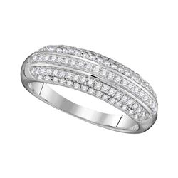 0.50 CTW Pave-set Diamond Ring 10KT White Gold - REF-30H2M