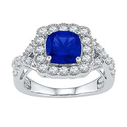 3.75 CTW Princess Created Blue Sapphire Solitaire Ring 10KT White Gold - REF-32W9K