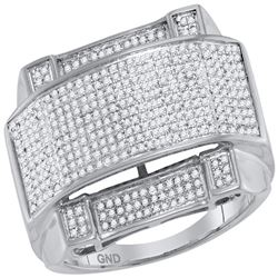0.63 CTW Mens Diamond Arched Rectangle Cluster Ring 10KT White Gold - REF-79X4Y