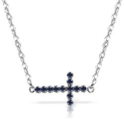 Genuine 0.30 CTW Sapphire Necklace Jewelry 14KT White Gold - REF-37P6H