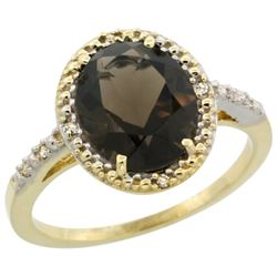 Natural 2.42 ctw Smoky-topaz & Diamond Engagement Ring 10K Yellow Gold - REF-25A5V