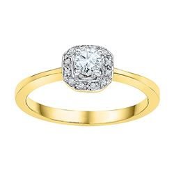 0.25 CTW Diamond Solitaire Halo Bridal Engagement Ring 10KT Yellow Gold - REF-32X9Y