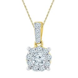 0.50 CTW Diamond Solitaire Circle Pendant 10KT Yellow Gold - REF-52K4W