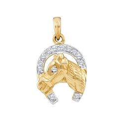 0.10 CTW Diamond Lucky Horseshoe Horse Head Pendant 14KT Two-tone Gold - REF-19Y4X