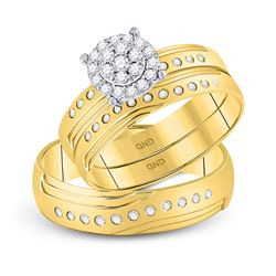 0.33 CTW His & Hers Diamond Cluster Matching Bridal Ring 14KT Yellow Gold - REF-75X2Y