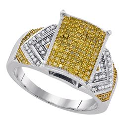 0.45 CTW Yellow Color Diamond Rectangle Cluster Bridal Ring 10KT White Gold - REF-57N2F