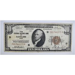1929 $10.00 FRB NOTE, CLEVELAND, VF