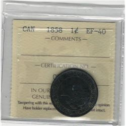 Canada 1858 Large Cent ICCS EF40