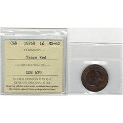 Canada 1876H Large Cent ICCS MS62 Trace Red