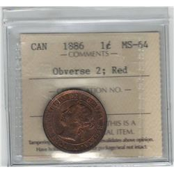 Canada 1886 Large Cent Obverse 2 ICCS MS64 Red