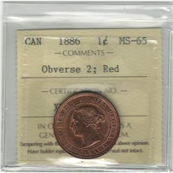 Canada 1886 Large Cent Obverse 2 ICCS MS65 Red