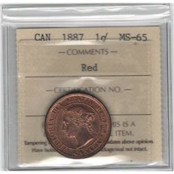 Canada 1887 Large Cent ICCS MS65 Red