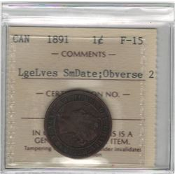 Canada 1891 Large Cent Large Leaves Small Date Obv. 2 ICCS F15