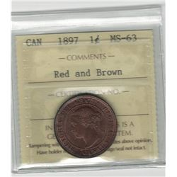 Canada 1897 Large Cent ICCS MS63 R&B
