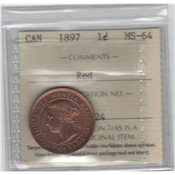 Canada 1897 Large Cent ICCS MS64 Red