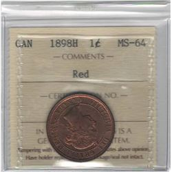 Canada 1898H Large Cent ICCS MS64 Red