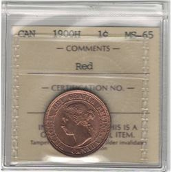 Canada 1900H Large Cent ICCS MS65 Red