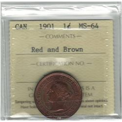 Canada 1901 Large Cent ICCS MS64 R&B