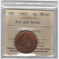 Canada 1903 Large Cent ICCS MS63 R&B