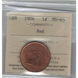 Canada 1904 Large Cent ICCS MS65 Red