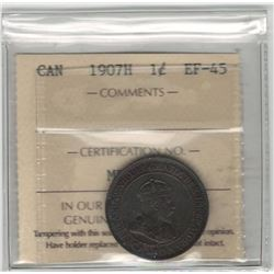 Canada 1907H Large Cent ICCS EF45