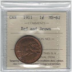 Canada 1911 Large Cent ICCS MS62 R&B
