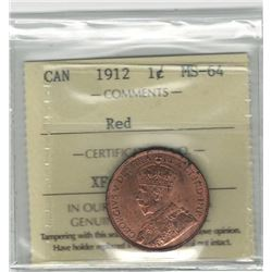 Canada 1912 Large Cent ICCS MS64 Red