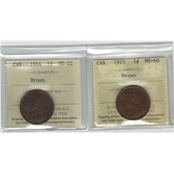 Canada 1914 & 1915 Large Cent Lot ICCS MS60 Brown