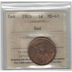 Canada 1915 Large Cent ICCS MS63 Red