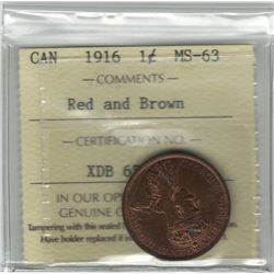 Canada 1916 Large Cent ICCS MS63 R&B