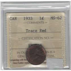 Canada 1933 Small Cent ICCS MS62 Trace Red