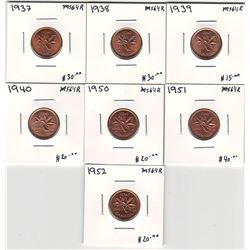 Canada 1937 - 1952 Small Cent Lot. Fully Red. MS64s.