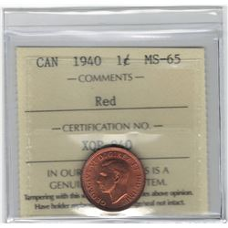 Canada 1940 Small Cent ICCS MS65