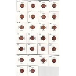 Canada Lot of 26 George VI Cents. All pennies are red.