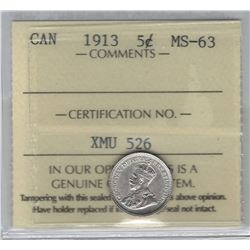 Canada 1913 5 Cent Silver ICCS MS63