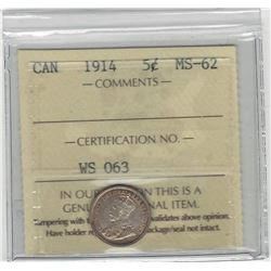 Canada 1914 5 Cent Silver ICCS MS62