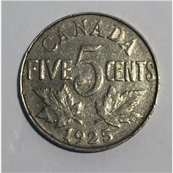 Canada 1925 5 Cent VG Scratches