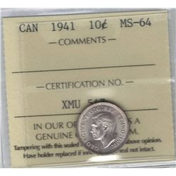 Canada 1941 Silver 10 Cent ICCS MS64