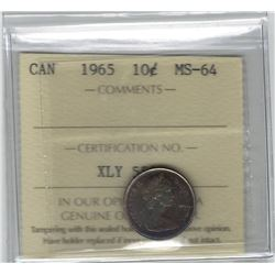 Canada 1964 Silver 10 Cent ICCS MS64