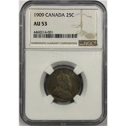 Canada 1909 Silver 25 Cent NGC AU53