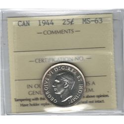 Canada 1944 Silver 25 Cent ICCS MS63