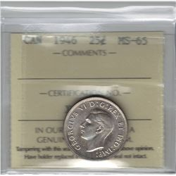 Canada 1946 Silver 25 Cent ICCS MS65